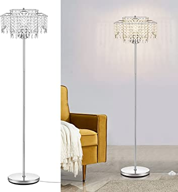 """Double Layer Lampshade Crystal Floor Lamp for Bedroom,Floor Lamp for Living Room,Elegant Standing Lamp,61.57"""" Tall Pole L"""