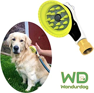 Wondurdog Quality Outdoor Dog Wash with All Metal Adapter | Attaches to Standard Garden Hose | Innovative Shower Brush with Splash Shield | Keep Water Away from Dogs Ears, Eyes and Yourself!