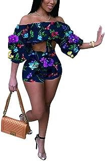 Women's 2 Piece Outfit -Off Shoulder Ruffle Floral Print Crop Top Shorts Set Boho Floral Print Romper Jumpsuit