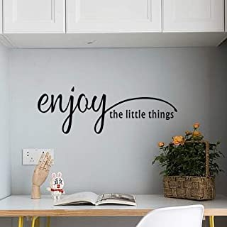 Enjoy The Little Things Quote Wall Decal, Inspirational Positive Saying Vinyl Sticker, Lettering Decals for Mirror Living Room Home Decor