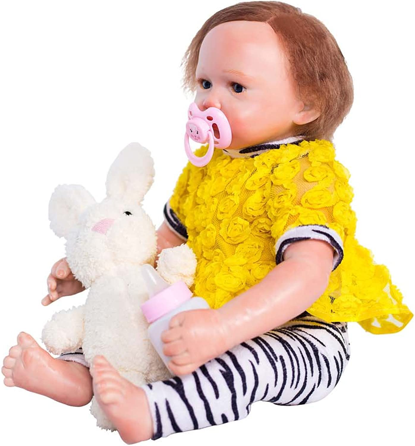 Terabithia 18 inch Real Life Reborn Baby Doll,Cute Giraffe,Girl Doll Crafted in Vinyl Like Silicone and Weighted Cloth Body