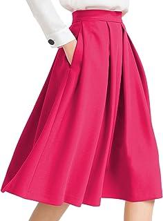 Yige Women's High Waist Flared Skirt Pleated Midi Skirt...