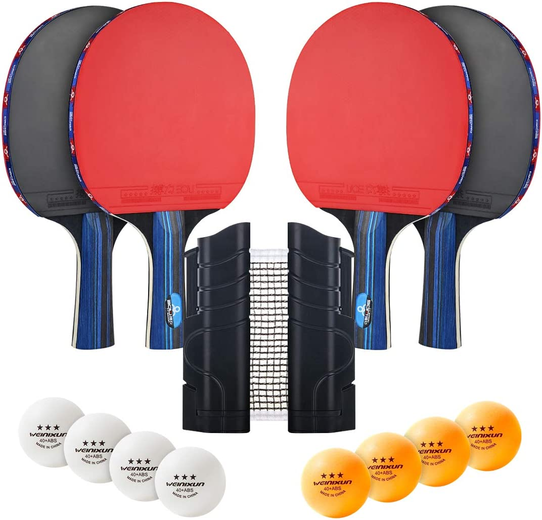 AHCSMRE Ping Pong Paddle Net Set,4-Pack Table Tennis Paddles,1-P