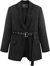 Striped Sashes Blazers Notched Full Sleeve Black Women Jacket Loose Suit Streetwear