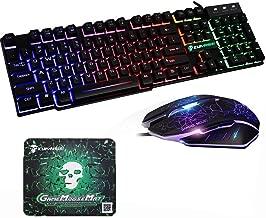 Axiba Waterproof Gaming Keyboard Mouse Sets USB Wired 104 Keys Skull Rainbow LED Backlit Multimedia Ergonomic Gamer Keyboard 2400DPI 6 Buttons Optical Professional Game Mice + Mouse Pad (Skull Black)