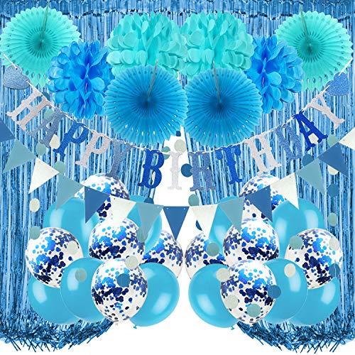 Recosis Decoraciones para Fiesta de Cumpleaños, Pancarta Azul de feliz Cumpleaños, Cortinas, Pompones y Abanicos de Papel, Guirnalda, Globos de Confeti para Decoraciones de Fiesta de Cumpleaños