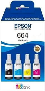 Epson Multipack 664 EcoTank, originele inktflessen, 4 kleuren: zwart, cyaan, magenta, geel, L300 L355 L55 ET-2500 ET-2550 ...