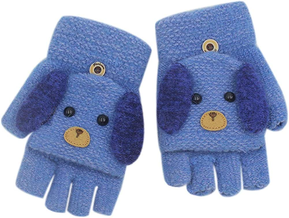 RARITY-US Unisex Warm Soft Winter Knit Gloves for Kids Boys Girls Glove with Dog Mittens (2 to 9Y)