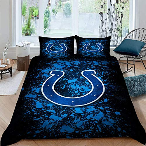 Ind-ian-ap-olis American Football Bed Sets for Men Full Full Size Sport Theme Colts Bed Sets for Men Full for Kids Teen Boys Girls Bedding 3 Piece Duvet Cover Set