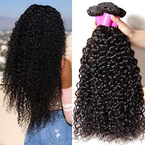 Ur Beautiful 8A Brazilian Curly Hair Bundles Brazilian Kinky Curly Bundles 100% Unprocessed Kinky Curly Human Hair Bundles Curly Weave 3 Bundles 8 8 10 Inch Natural Balck Color (95+- 5g bundle)