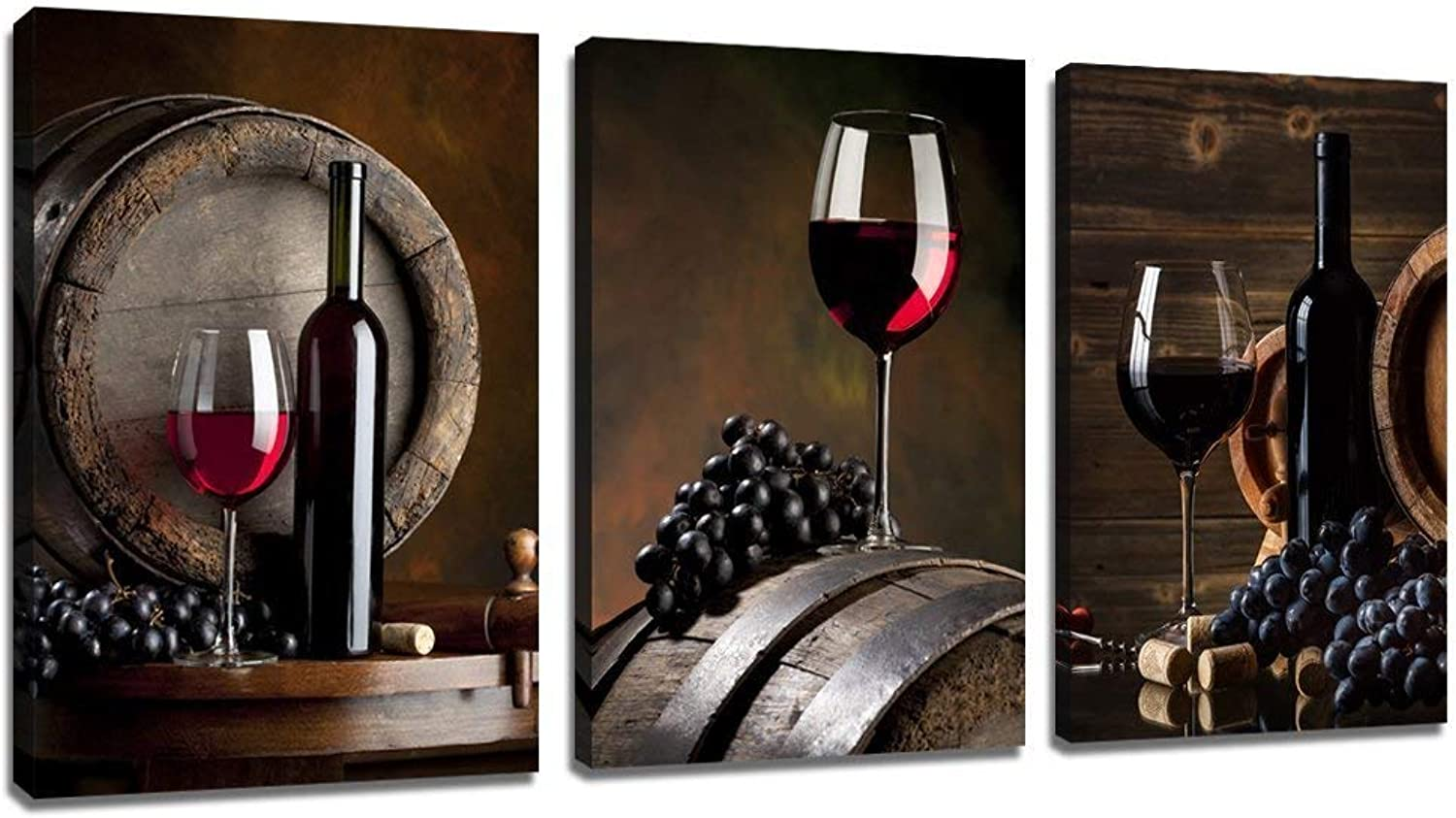 Sechars - 3 Piece Canvas Wall Art Red Wine Painting for Wall Decor Grape Pictures Stretched and Framed Vintage Kitchen Decorations Theme Sets