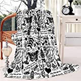 1D Tattoos Updated 2015 Fleece Blanket Soft Plush Throw TV Blanket Bedding Flannel Throw Shawls and Wraps Lightweight for Bed Couch Chair Travel, 51'x59'