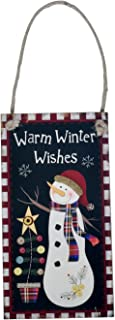 EBTOYS Christmas Hanging Wall Decoration Wooden Hanging Plaque Sign Warm Winter Wishes Snowman Hanging Christmas Party Door Hanger Home Outdoor Xmas Decorations