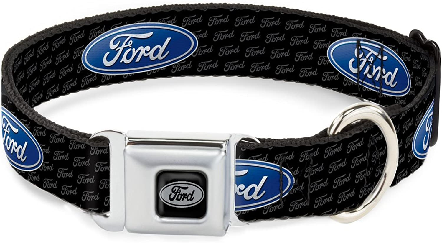 BuckleDown DCWFE004WM Dog Collar Seatbelt Buckle, Ford Oval Repeat with Text, 1.5  by 1623