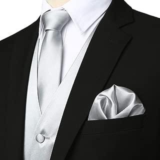ZEROYAA Men's Solid 4pc Shiny Satin Vest Necktie Bowtie Pocket Square Set for Suit or Tuxedo