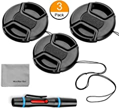 43mm Lens Cap Bundle, 3 Pack Universal Snap on Front Centre Pinch Lens Cover Set with Microfiber Lens Cleaning Cloth for Canon Nikon Sony Olympus DSLR Camera + Camera Lens Cleaning Pen