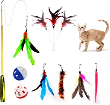 OASMU Cat Toys - Feather Cat Teaser Toys - Natural Feather Refills for Cat Wand Toy Bell Kitten Cat Having Fun Exerciser Playing
