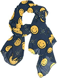 ANINILY Scarfs for Women Lightweight Yellow Smiley Face Print Shawl Head Wraps