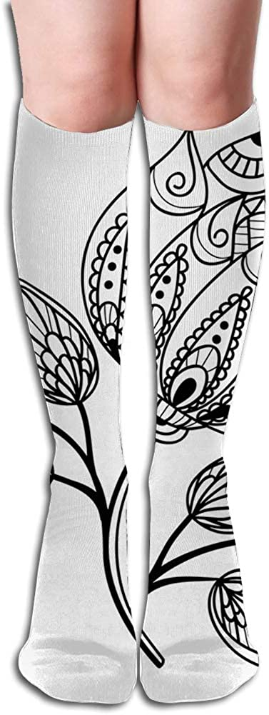 Men's and Women's Funny Casual Combed Cotton Socks,Hand Drawn Monochrome Floral Pattern with Ornamental Petals and Leaves Swirls