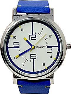 Round Watch with White Face, Blue Yellow Trim, Blue Vegan Leather Strap