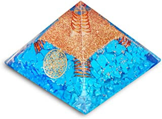 PREK Tourquise orgone Pyramid with Four Copper Spring and Flower of Life Symbol Size 2-2.5 inch