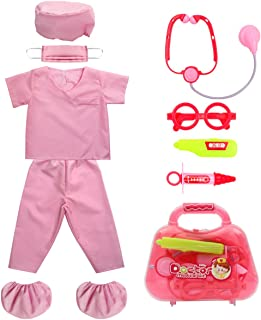 Kid's Scrubs Doctor Role Play Costume Dress up Set with Doctor Medical Kit for Toddler Children