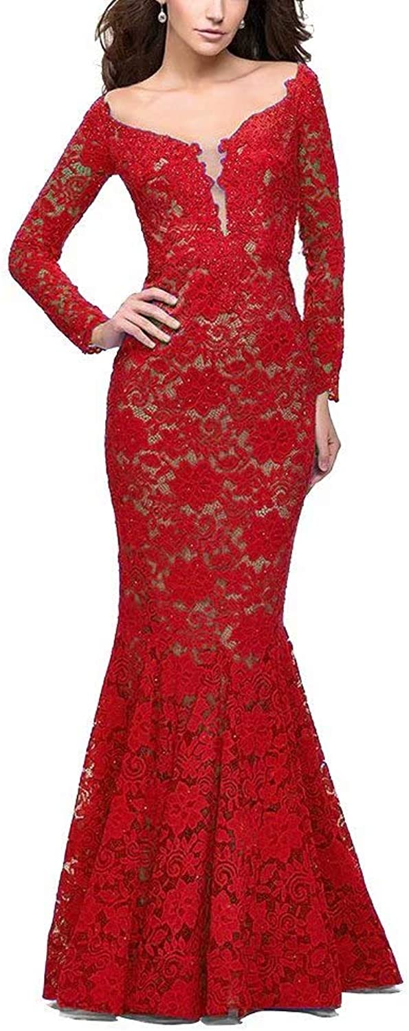 Unions Women V Neck Lace Mermaid Prom Dresses Long Sleeve Beaded Formal Evening Gowns