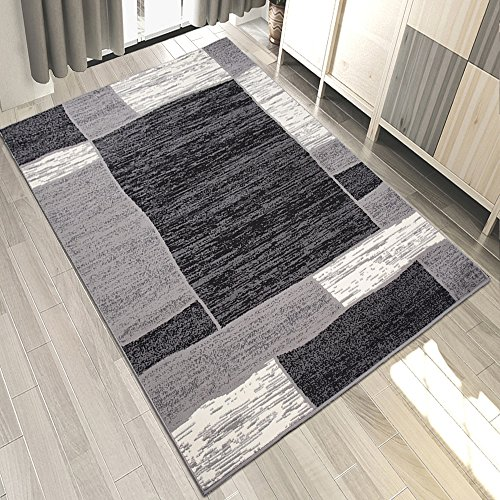 Carpeto Teppich Modern Geometrische Muster Trend Meliert in Grau, Schwarz - ÖKO TEX (140 x 200 cm)