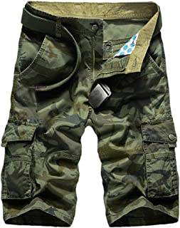 Guiran Mens Camo Shorts Cargo Bermuda Multi-Pocket Straight Combat Military Casual Pants Trousers (Without Belt)
