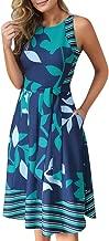 Aniywn Womens Swing Dress Round Neck Plus Size Sleeveless Printed A-Line Princess Mini Dress with Belt