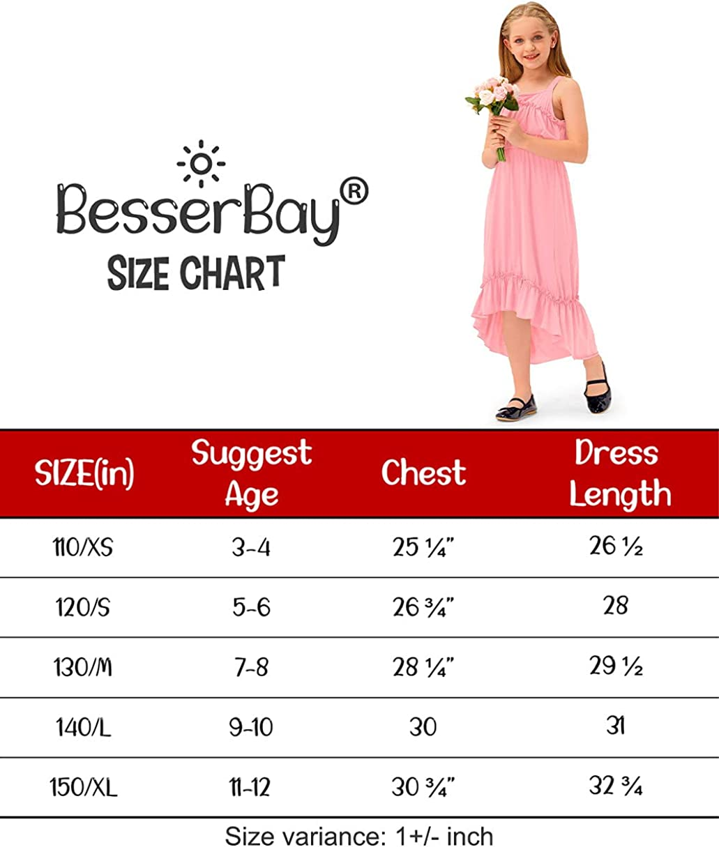 BesserBay Girl's Casual Floral Maxi Dress Ruffle One Shoulder Swing Dresses 3-12 Years