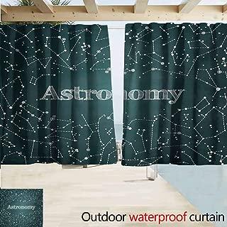 Zmcongz Constellation Outdoor Curtain Astronomy Class Scientific School Design Chalkboard Detailed Star Clusters Room Darkening Thermal W72 xL72 Green White