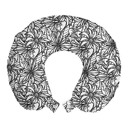 Lunarable Floral Travel Pillow Neck Rest, Monochrome Star Anise Plants Chinese Gardening Blossoms Design Pattern, Memory Foam Traveling Accessory for Airplane and Car, 12