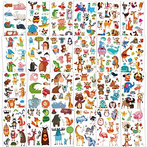 Qpout 24 Hojas Tatuajes Temporales de animales para niños (230+ piezas), pegatinas de tatuaje a prueba de agua Zoo Sea Animal decoración para niños niños niñas animal cumpleaños fiesta regalo