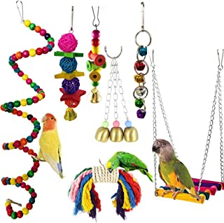 Parrots Toy 7pcs Hanging Swing Chewing Bell Toy for Cage Conures Parakeets Cockatiels Macaws Finches Mynah Budgies and Lov...
