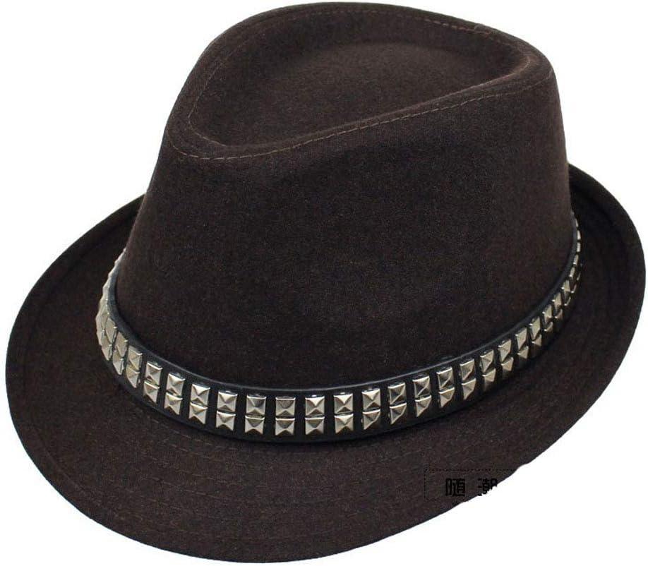 HHF Caps & Hats Female Spring Autumn Winter Hat Men's Women's Fedora Hat Punk Band British Cap Jazz Hat (Color : Dark Brown, Size : 56-58cm)