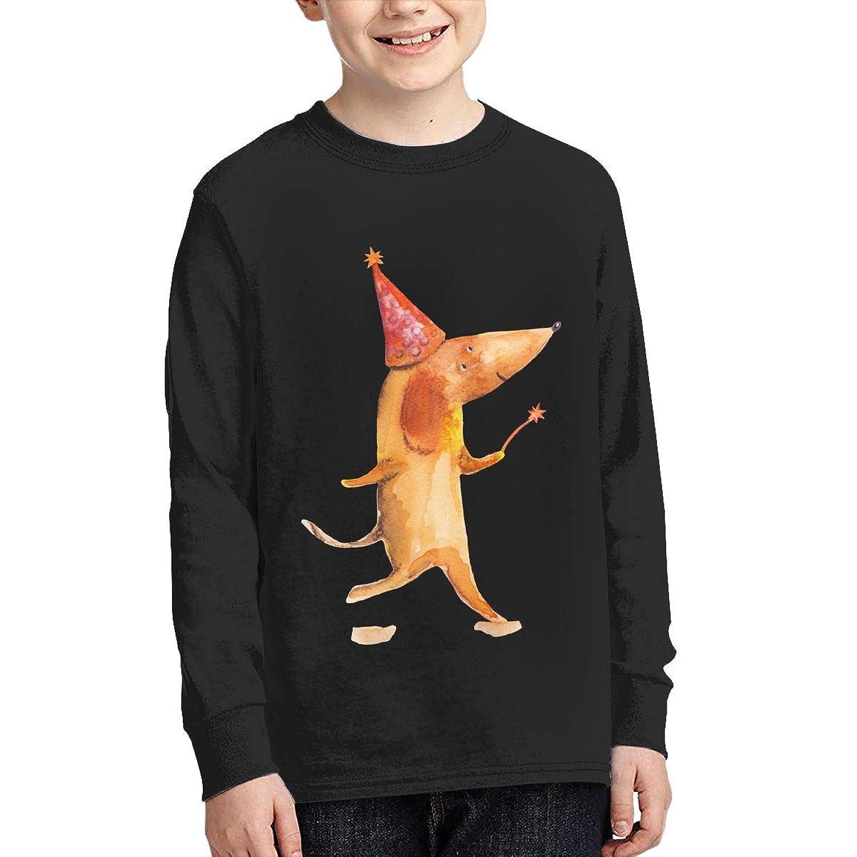 学生 男女兼用 子供 長袖 Tシャツ 犬 帽子 ロングスリーブ Oネック ティー シャツ Black