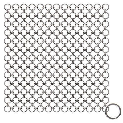 Blisstime Cast Iron Cleaner Premium Stainless Steel Chainmail Scrubber, Square