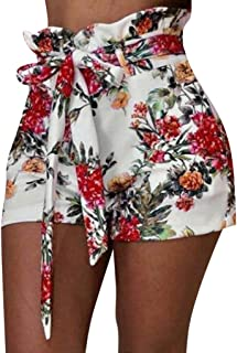 Pumsun Womens High Waist Wide Leg Pants Casual Floral Print Drawstring Long Pants
