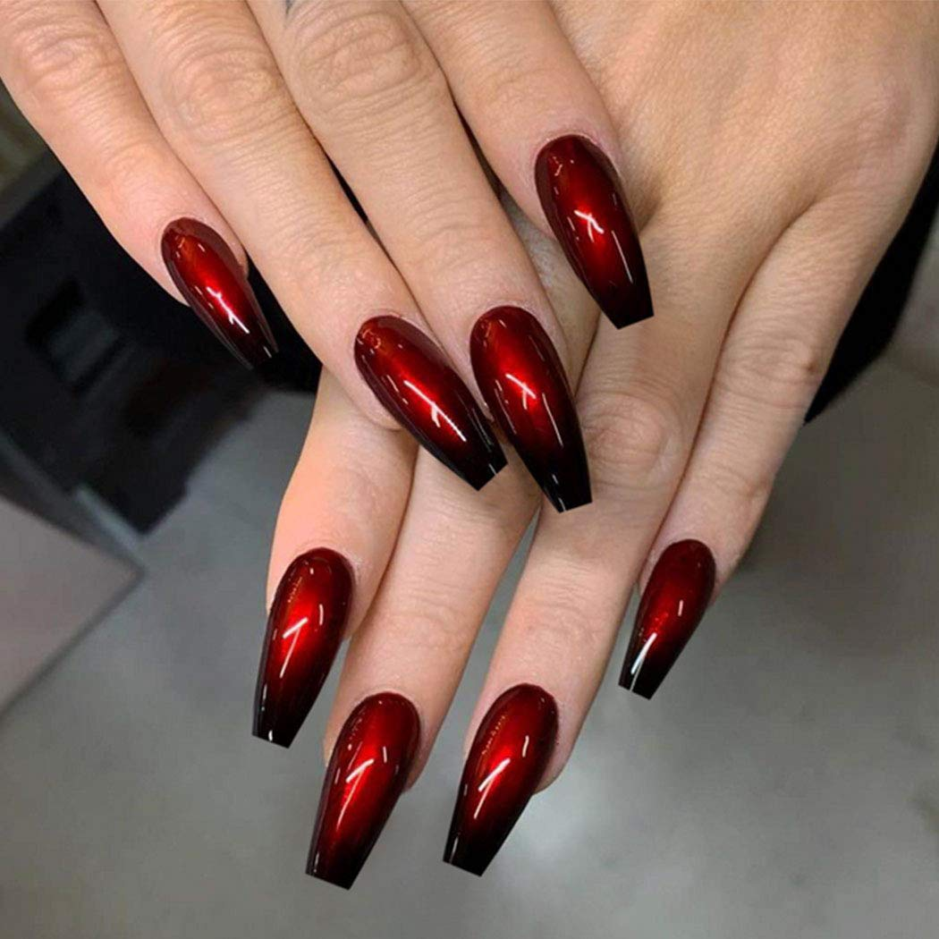 Uranian Coffin Long Press on Don't miss the campaign Black Baller New item Nails Ombre Fake