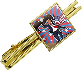 Graphics and More Patriotic Donald Trump with Eagle American Flag Gun Square Tie Bar Clip Clasp Tack- Silver or Gold