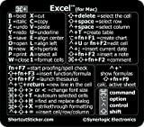 SYNERLOGIC Microsoft Excel (for Mac) Cheat Sheet Reference Guide Keyboard Shortcut Sticker - Vinyl 2.8'x2.5' (Black)