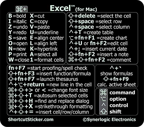 """SYNERLOGIC Microsoft Excel (for Mac) Cheat Sheet Reference Guide Keyboard Shortcut Sticker - Material Vinyl, Temporary Adhesive 2.8""""x2.5"""" (Black)"""