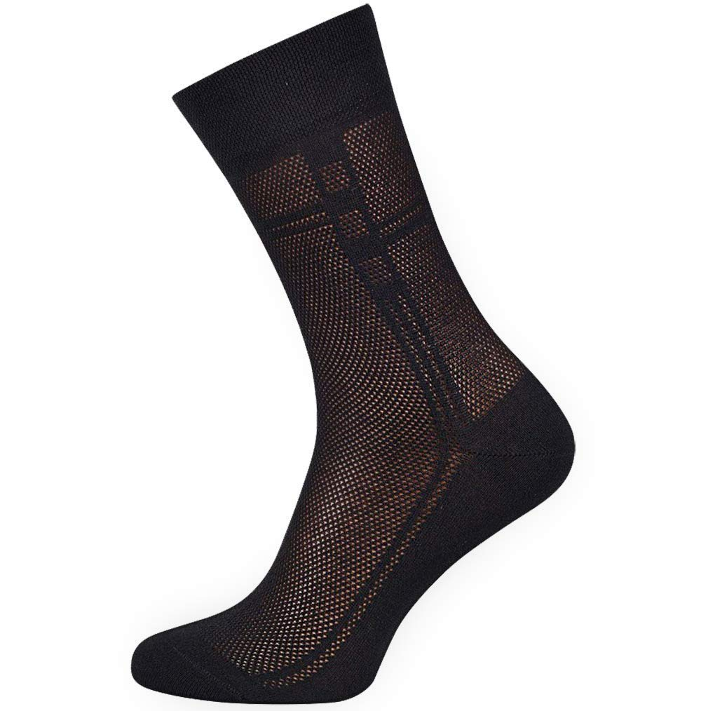 4-Pack Mens ultra Thin Breathable Cotton Dress Socks Black Brown Navy Grey Color Large