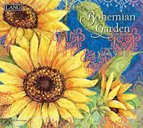 """LANG - 2018 Wall Calendar - """"Bohemian Garden"""" - Artwork By Susan Winget - 12 Month - Open, 13 3/8"""" X 24"""""""