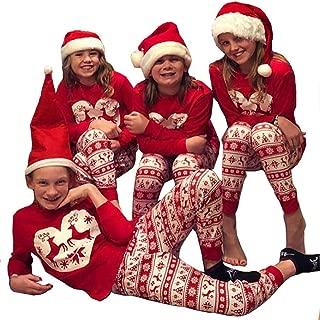 Weixinbuy Family Matching Christmas Pajamas Set for Women Men Kids Reindeer Print Cotton Pants Clothes Pjs Set