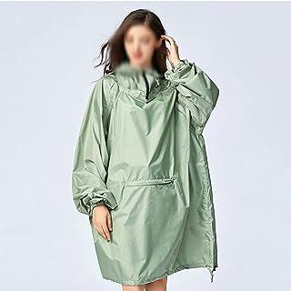 WZHZJ Women's Stylish Waterproof Rain Poncho Cloak Green Raincoat with Hood Sleeves and Big Pocket on Front