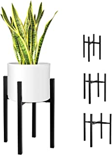 Magicfly Metal Plant Stand with Adjustable Width and Height for 8-14 Inch Planter Pots, Mid-Century Plants & Flowers Holders for Potted Plant,Indoor or Outdoor, (Plant and Pot NOT Included), Black
