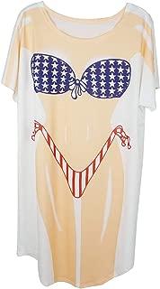 Lady's Fun Wear Hot Pink Bikini Print Cover Up T-Shirt