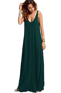 Verdusa Women's Casual Sleeveless Deep V Neck Knitted Shift Sexy Maxi Long Dress